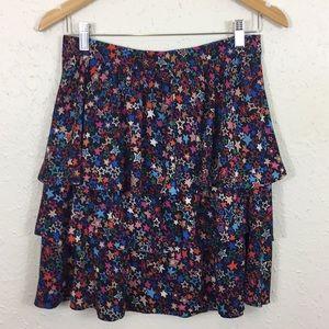 J Crew Tiered Skirt Kaleidoscope Star Print